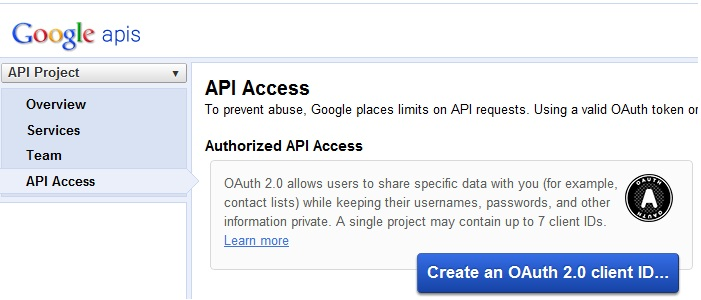 create OAuth 2.0 client ID