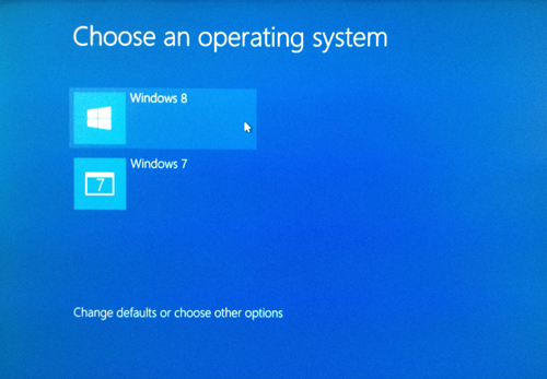 Windows 8 and Windows 7 dualboot startup menu