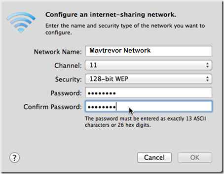 configure wifi hotspot on Mac