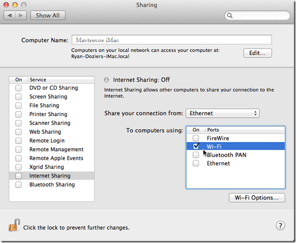 internet sharing on Mac