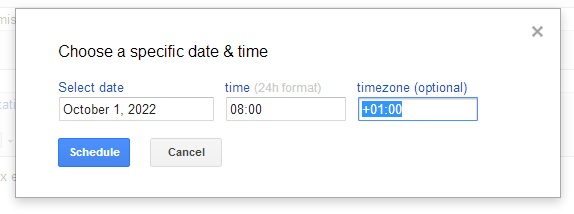 scheduling an email with Right Inbox to a future date