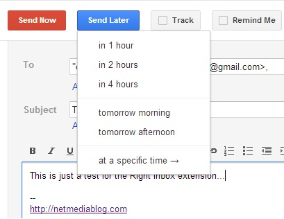 scheduling an email with Right Inbox
