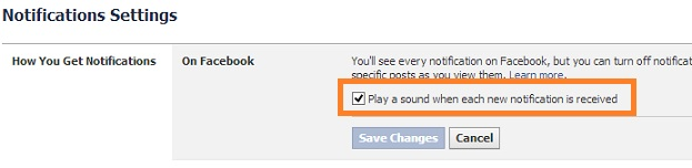 Facebook Disable Notification Sound