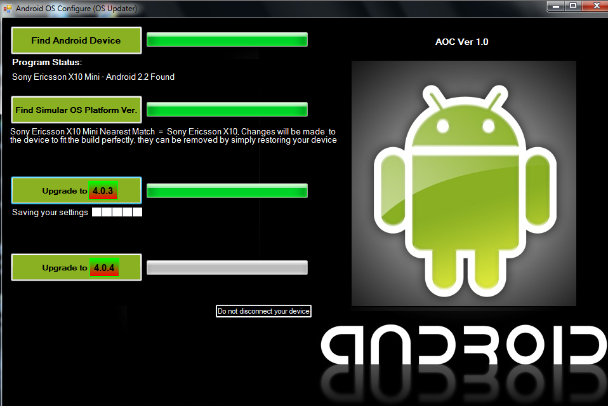 Upgrade Android 2.3 to 4.0 and newer using Android OS Configure