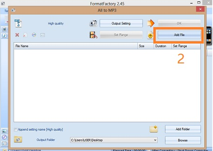 Add file - format factory file conversion software