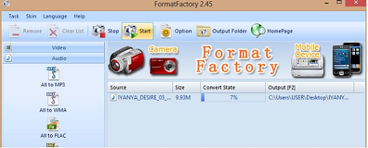 begin file conversion on Format Factory