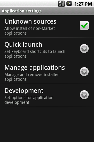 enabling unknown sources in Android settings