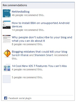 Facebook social plugins to improve your site traffic - Recommendations Box