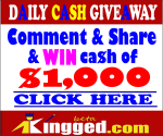 Kingged.com Giveaway – Earn $1000 commenting on and sharing post