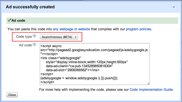 Adding asynchronous adsense code to Blogger template without error