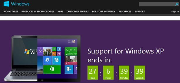 What will happen after the Microsoft End of Support for Windows XP?
