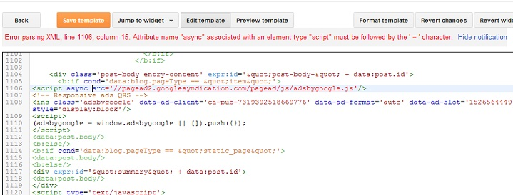 adding asynchronous adsense code to HTML