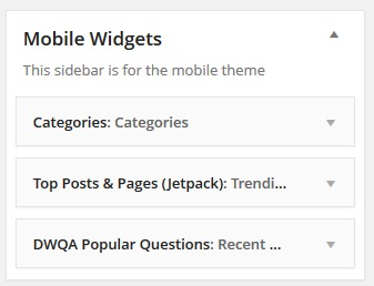 Add mobile widgets to Mobile Theme