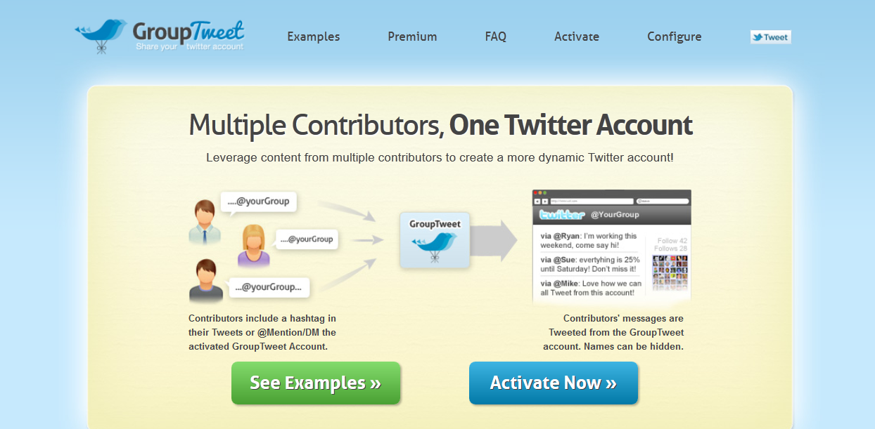 how to add multiple contributors to one Twitter account with GroupTweet
