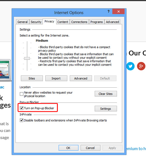 Block Pop-ups on Internet Explorer