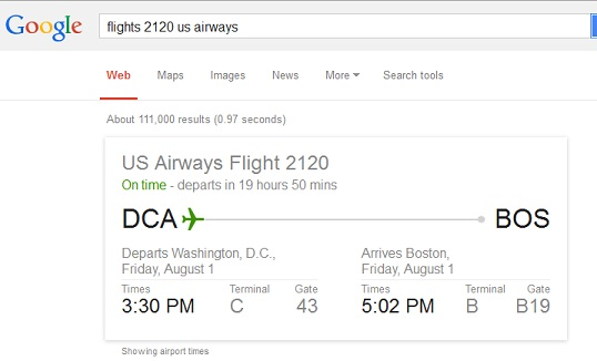 Use Google to find flight schedule - Google Tricks