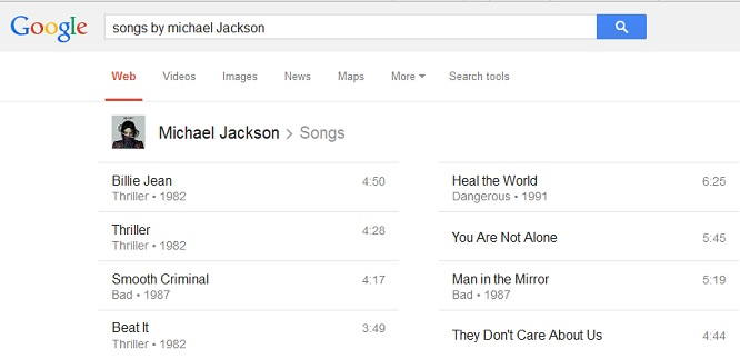 Find songs by your favorite artist - Google tricks
