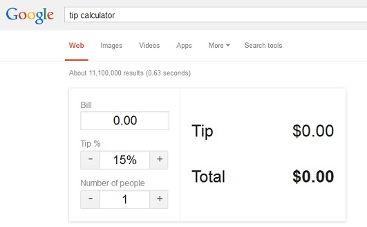 Use Google as tip calculator - Google Tricks