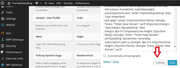 Show or hide different widgets on different pages on WordPress