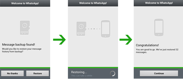 whatsapp restore on Android