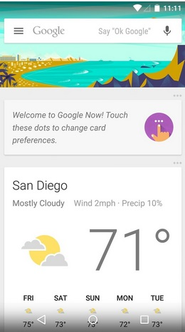 Google Now Interface