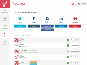 Easy interface to connect with social media accounts
